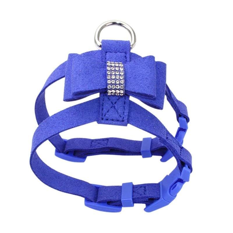 Blauwe harnas met strik maat S