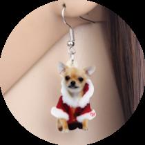 Oorbellen Chihuahua met Kerstmantel