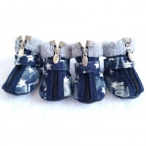 Chihuahua Denim Snowboots White Star